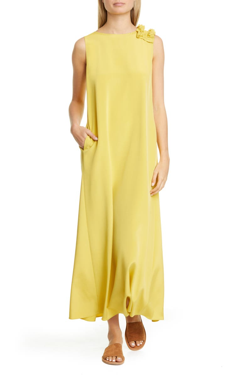 LAFAYETTE 148 NEW YORK Francesca Ruffle Shoulder Stretch Silk Maxi Dress, Main, color, 700