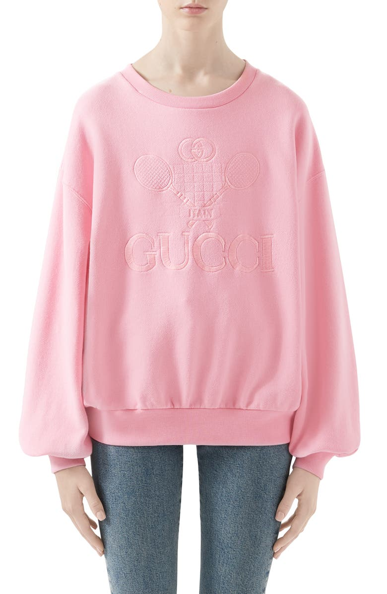 GUCCI Tennis Embroidered Jersey Sweatshirt, Main, color, SUGAR PINK