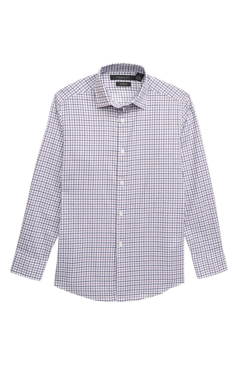 ANDREW MARC Check Dress Shirt, Main, color, PINK/ BLUE