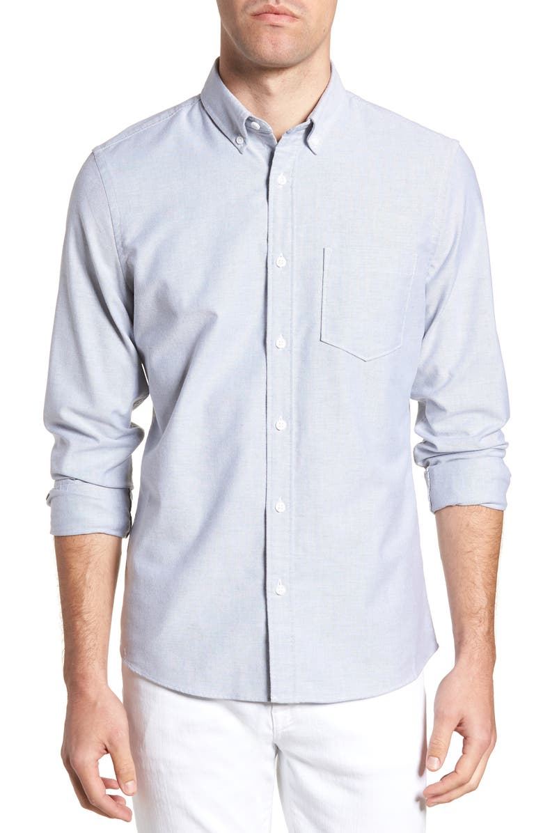 1901 Trim Fit Washed Oxford Shirt, Main, color, GREY MAGNET OXFORD