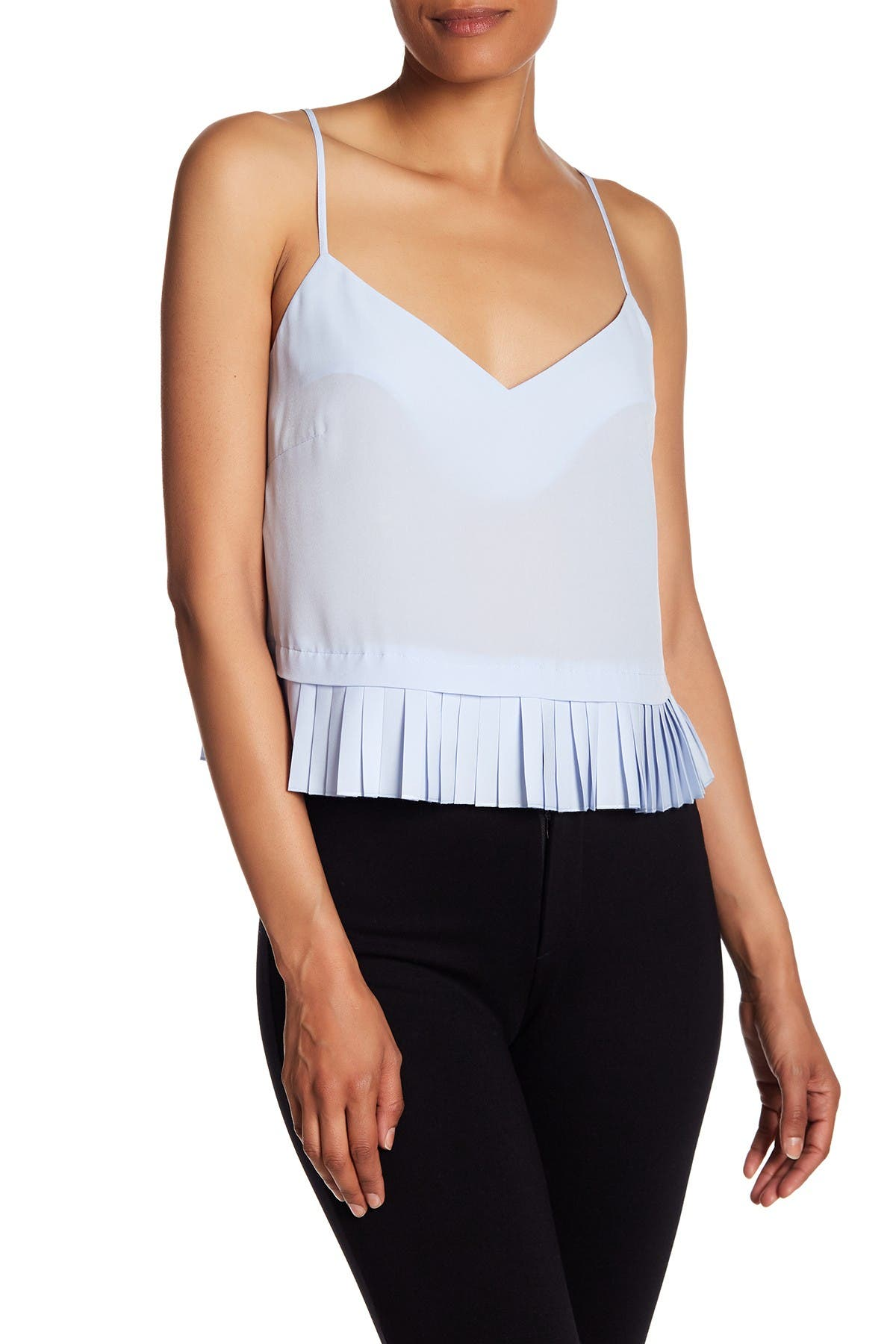Image of French Connection Polly Plains Pleated Hem Tank Top