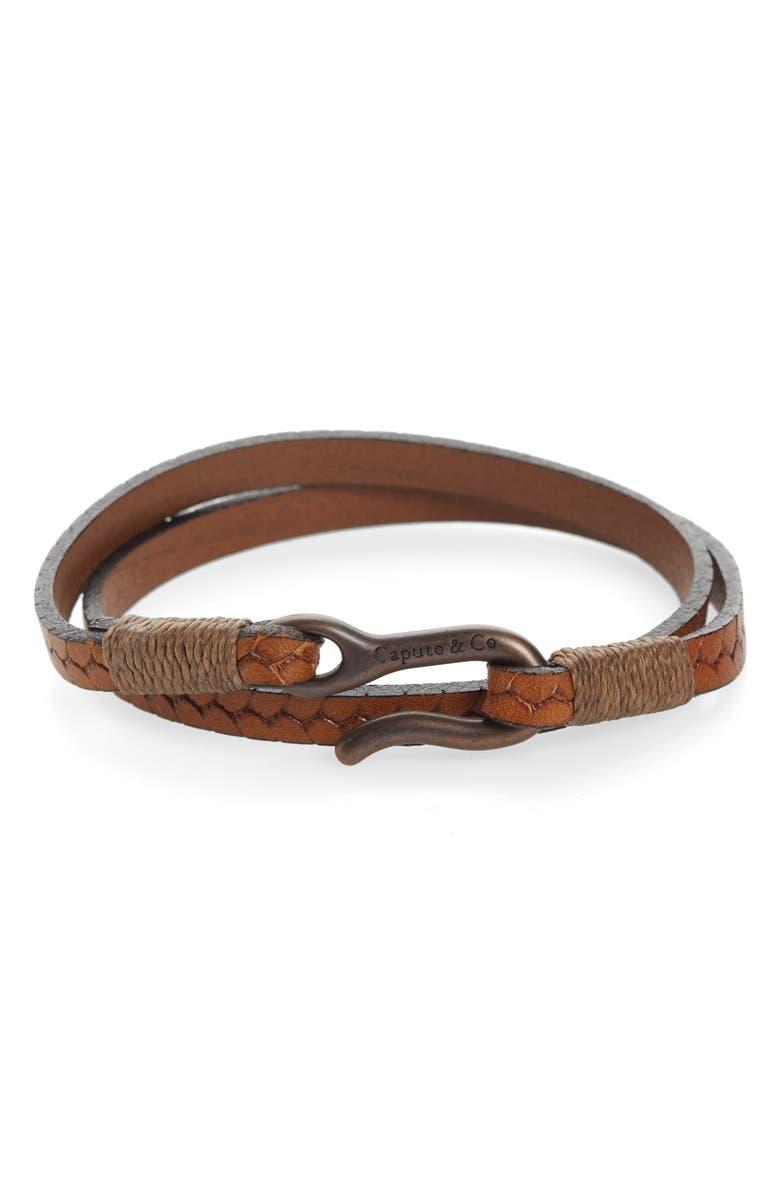 CAPUTO & CO. Braided Leather Wrap Bracelet, Main, color, TAN