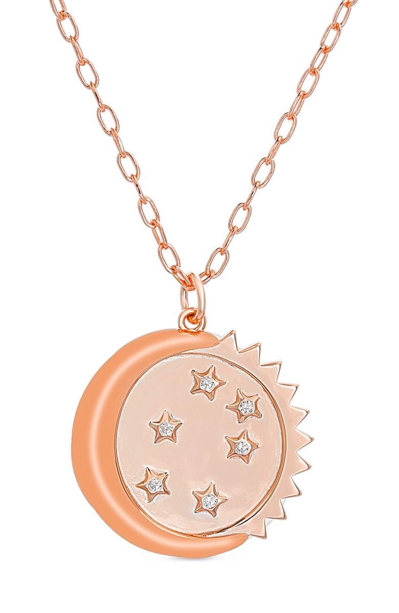 LESA MICHELE Moon & Sun Pendant Necklace, Main, color, ROSE GOLD