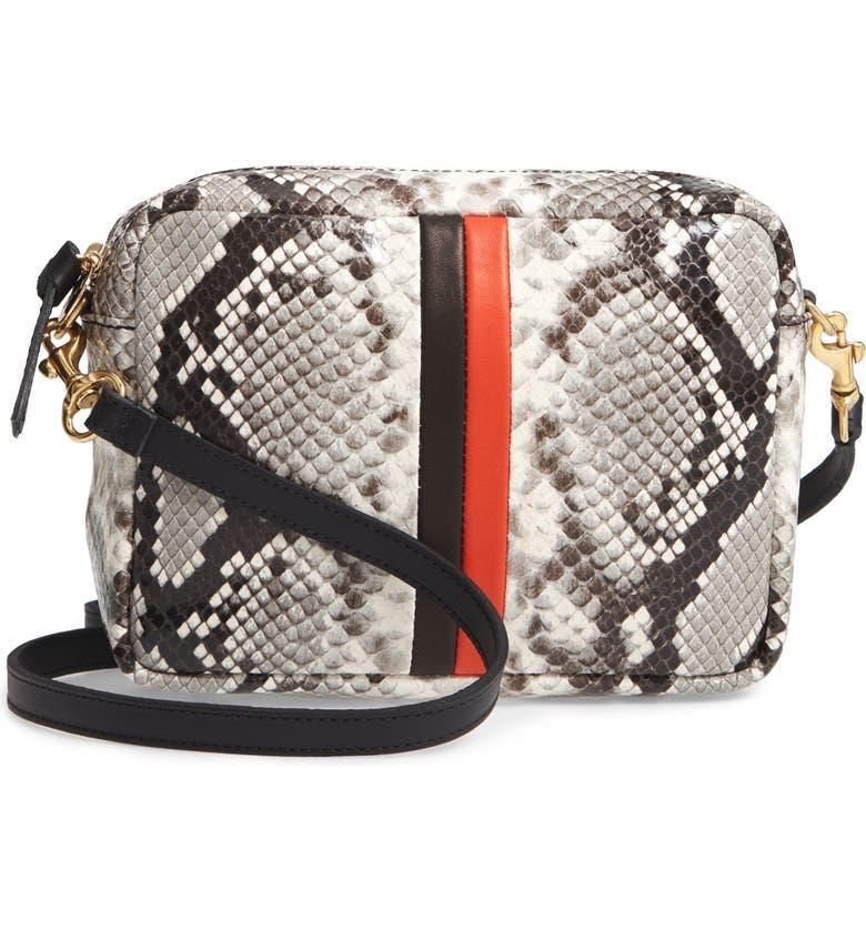 CLARE V. Midi Sac Python Embossed Leather Crossbody Bag, Main, color, 100