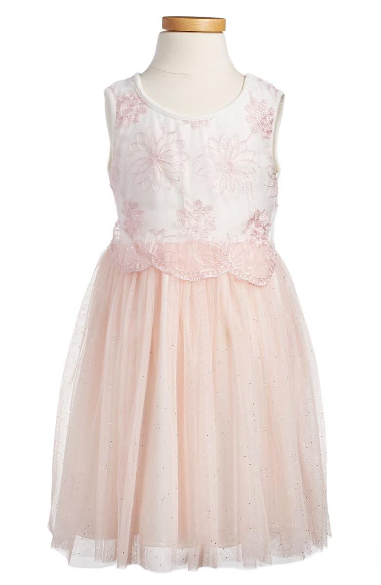 POPATU Embroidered Tulle Dress, Main, color, PEACH