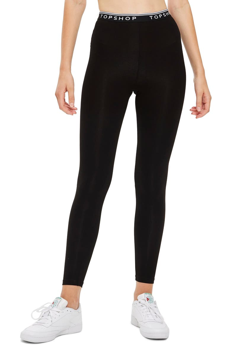 TOPSHOP Branded Elastic Leggings, Main, color, BLACK MULTI