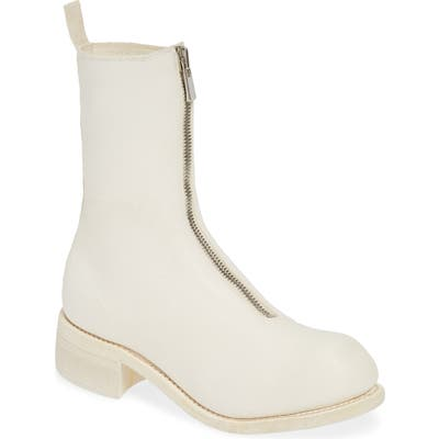 Guidi Front Zip Boot, White