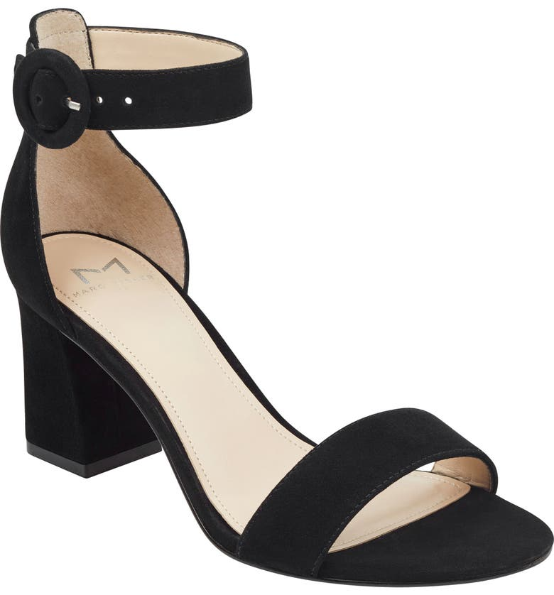 MARC FISHER LTD Karlee Ankle Strap Sandal, Main, color, BLACK SUEDE