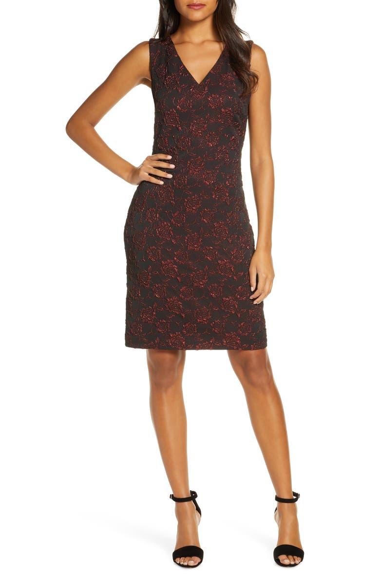 DONNA RICCO Metallic Floral Brocade Sleeveless Dress, Main, color, RED/ BLACK