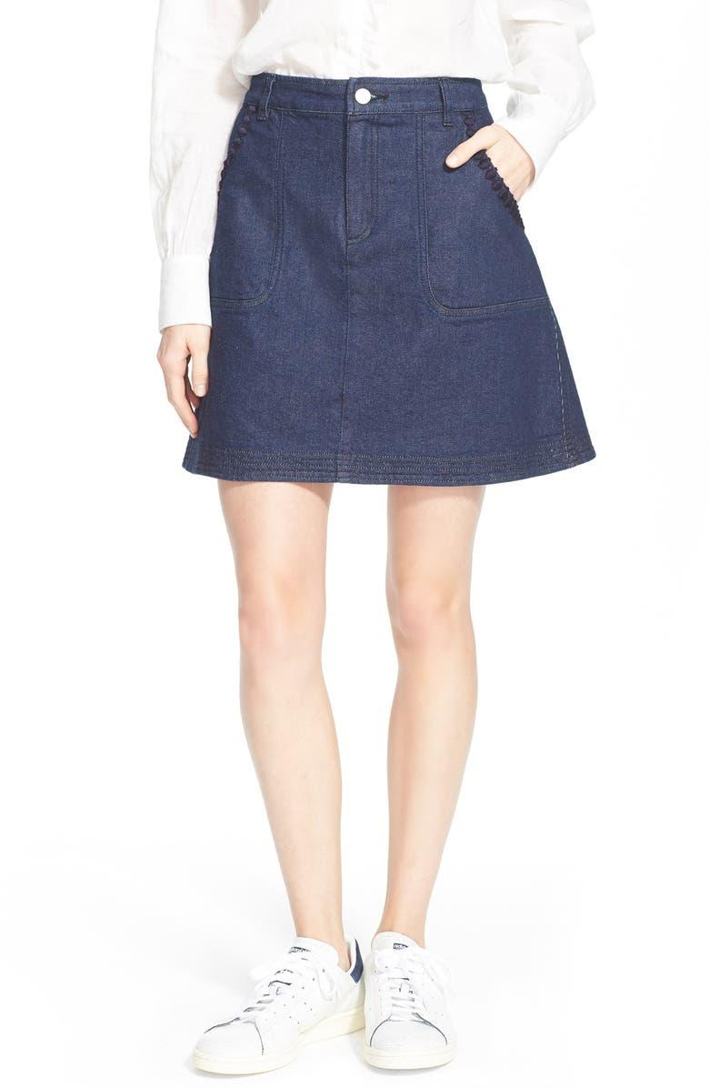 SEE BY CHLOÉ A-Line Stretch Denim Skirt, Main, color, 410