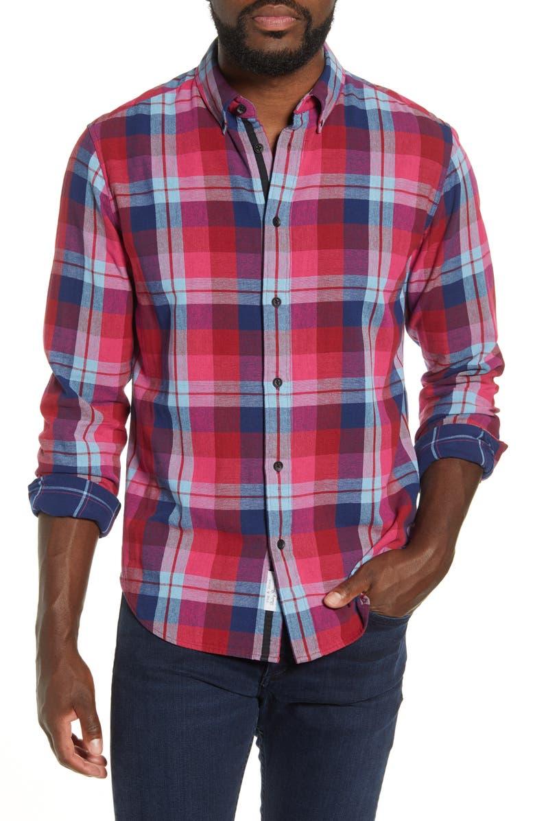 RAG & BONE Fit 2 Tomlin Slim Fit Plaid Button-Down Oxford Shirt, Main, color, BURGUNDY MULTI