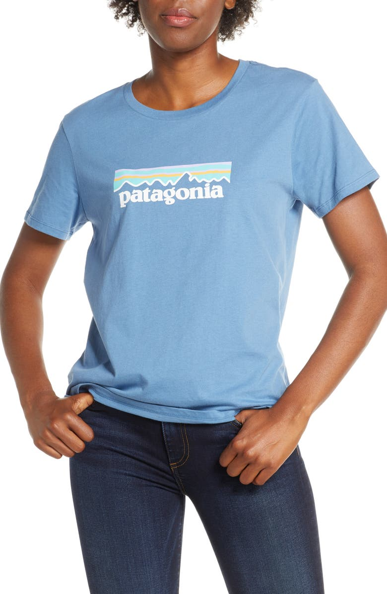 PATAGONIA P-6 Logo Tee, Main, color, WOBL WOOLLY BLUE