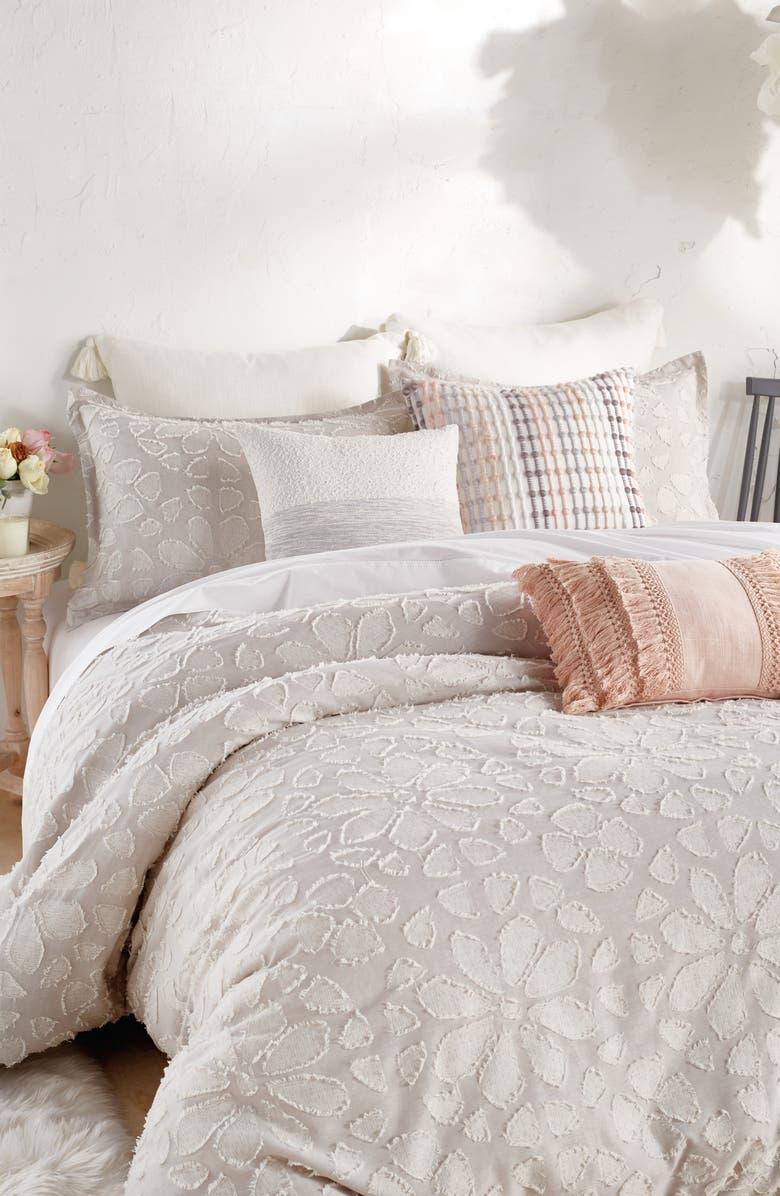 PERI HOME Clipped Floral Comforter & Sham Set, Main, color, NATURAL