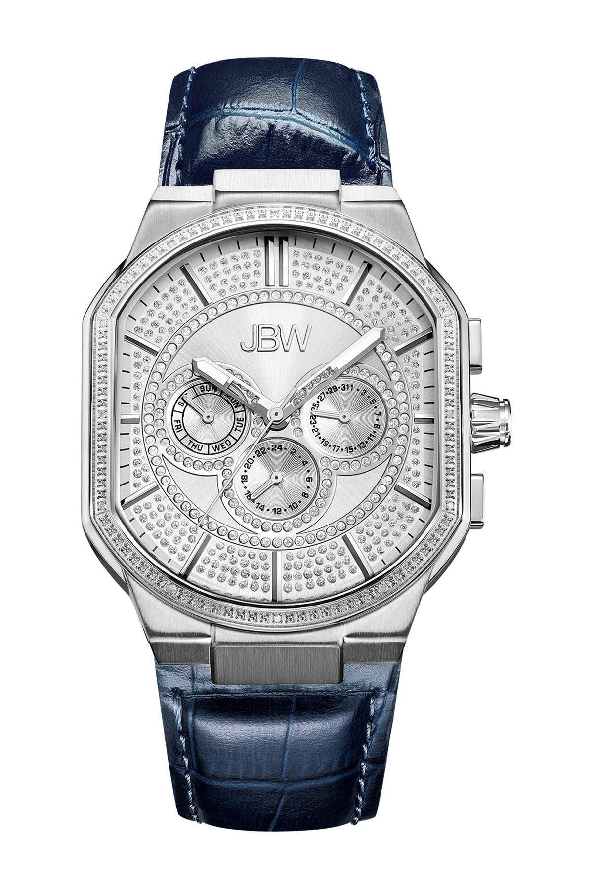 Image of JBW Men's Bond Diamond Embellished Croc Embossed Leather Strap Watch, 43mm - 0.12 ctw