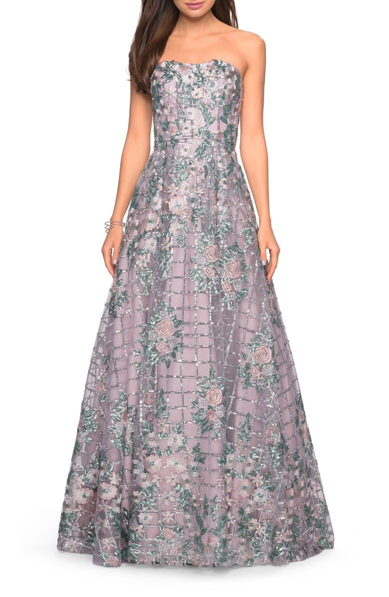 LA FEMME Strapless Sequin Evening Gown, Main, color, MAUVE
