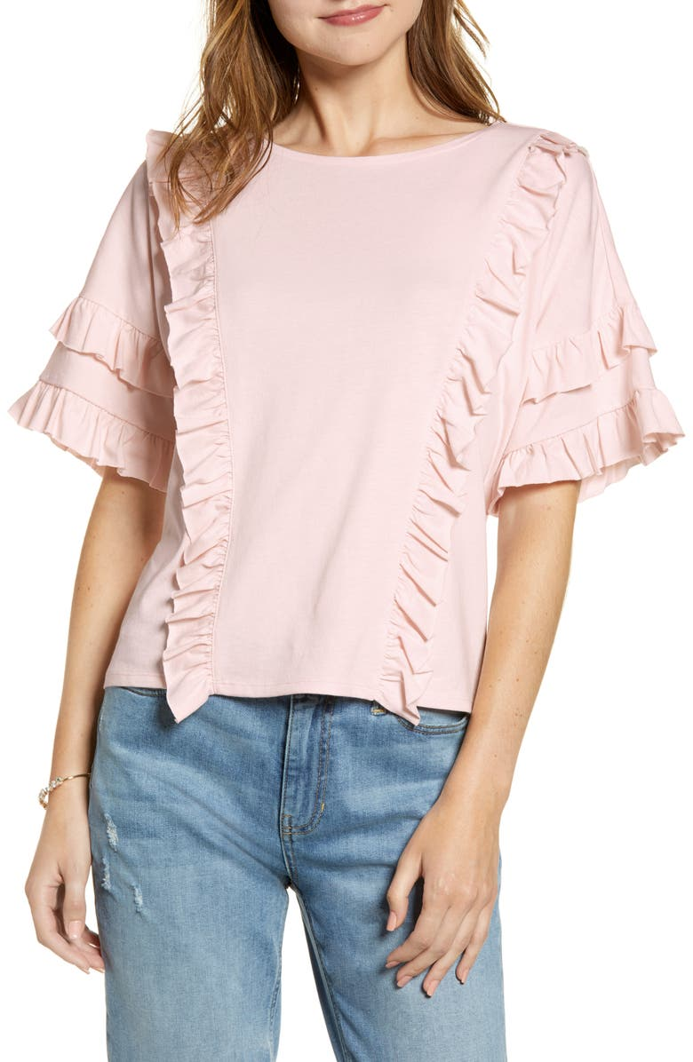 RACHEL PARCELL Ruffle Tee, Main, color, PINK FROSTY