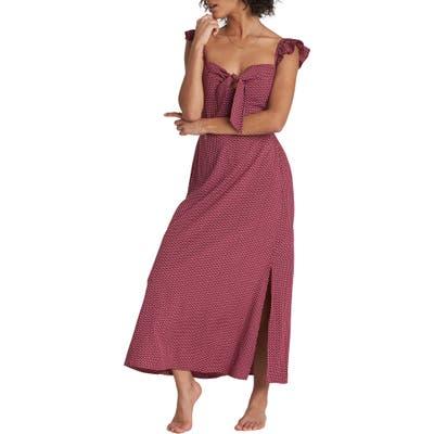 Billabong Cherry Lips Ruffle Strap Maxi Dress, Burgundy