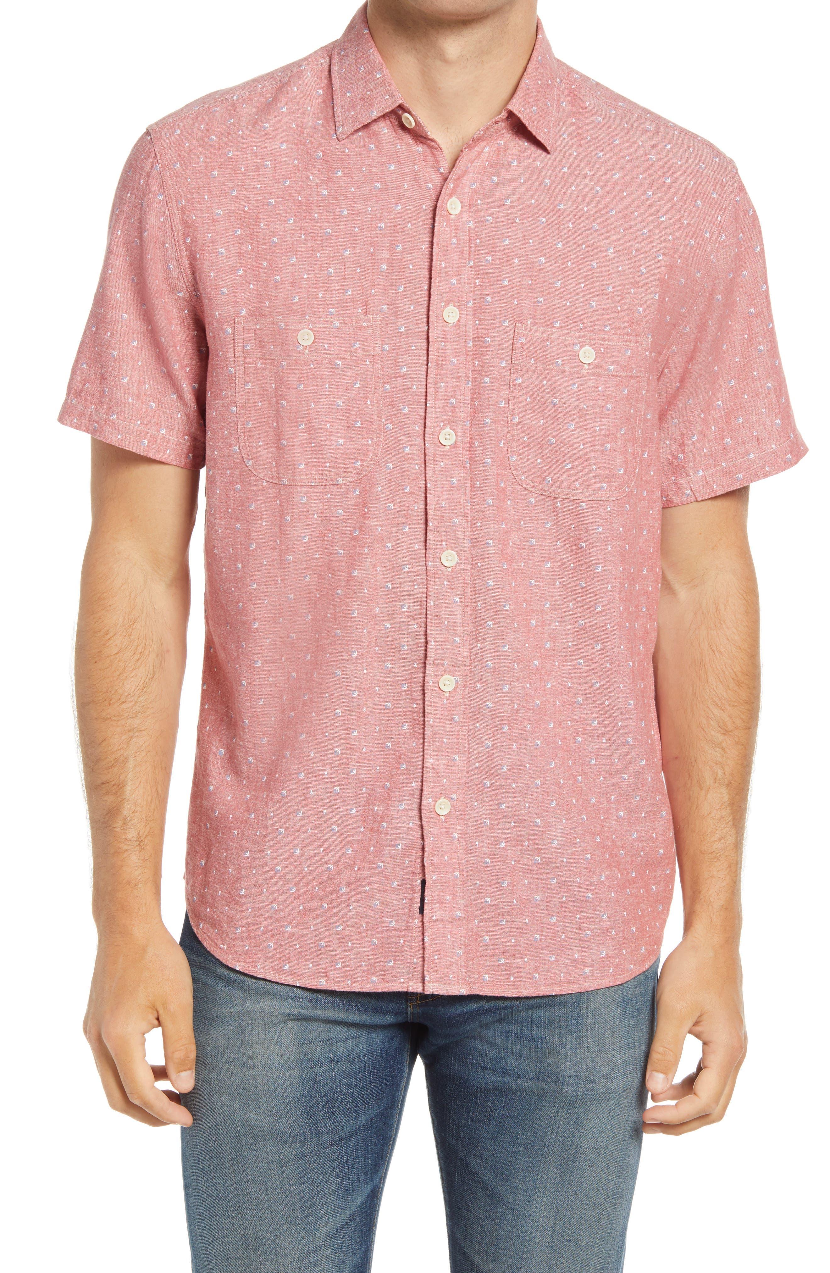Island Short Sleeve Linen Blend Button-Up Shirt