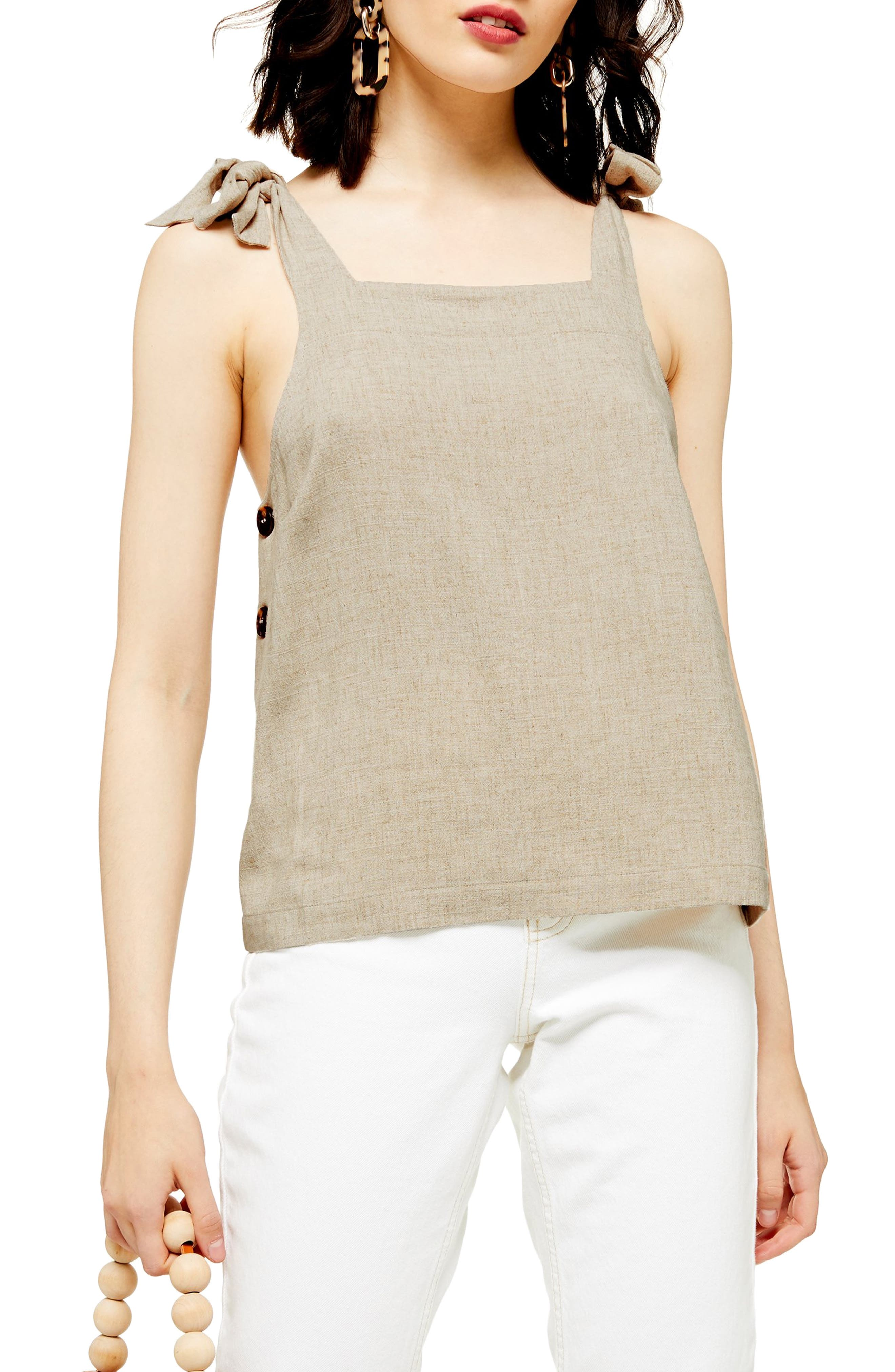 Topshop Polly Tie Shoulder Camisole, US (fits like 16-18) - Beige