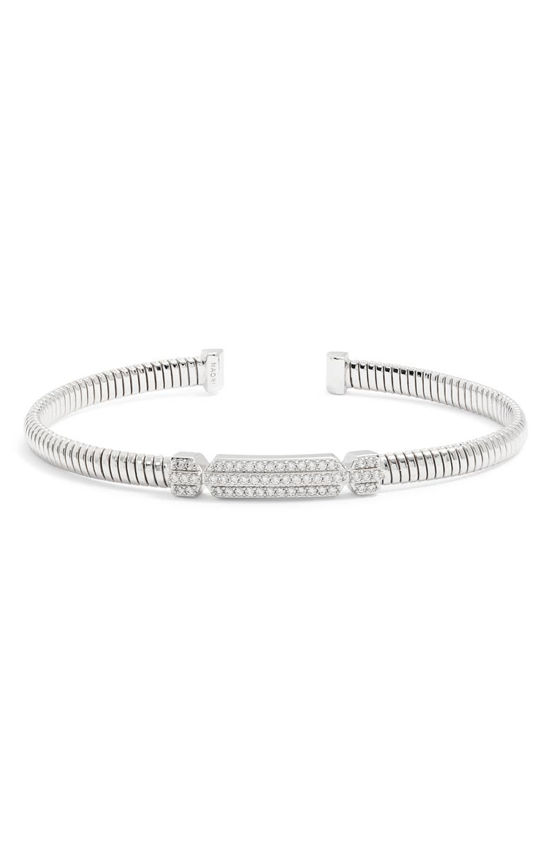 NADRI Pavé Flex Cuff, Main, color, SILVER