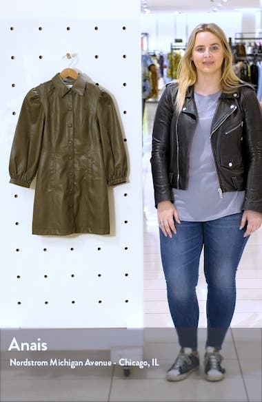 Long Sleeve Faux Leather Shirtdress, sales video thumbnail
