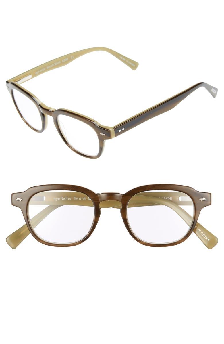 EYEBOBS Bench Mark 46mm Reading Glasses, Main, color, KHAKI GREEN