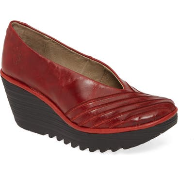 Fly London Yaku Wedge Pump, Red