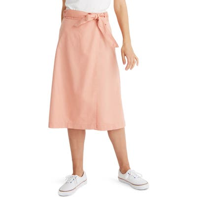 Madewell Belted Faux Wrap Midi Skirt, Coral