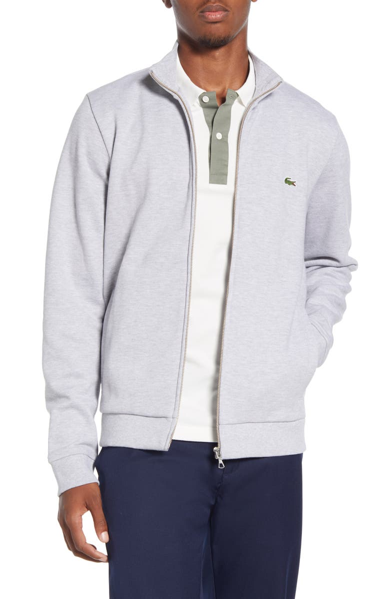 LACOSTE Piqué Fleece Track Jacket, Main, color, SILVER GREY CHINE