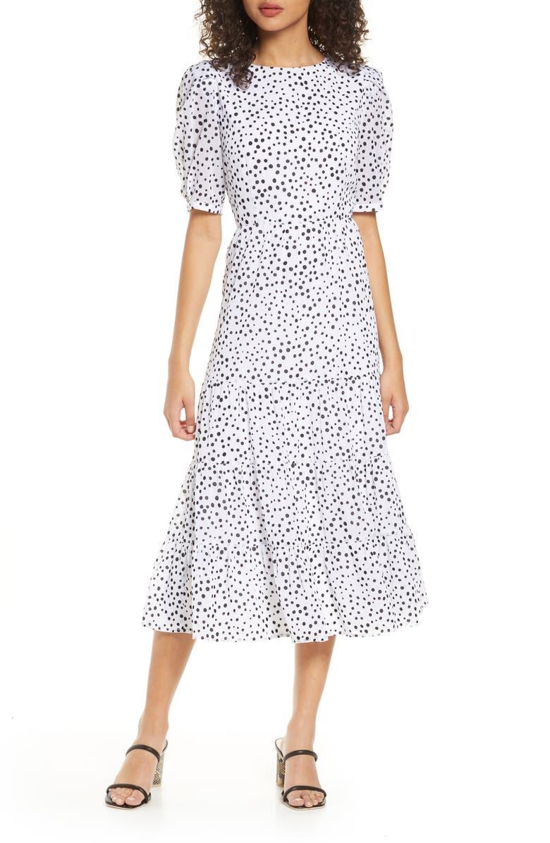 BB DAKOTA Dot Print Midi Dress, Main, color, IVORY