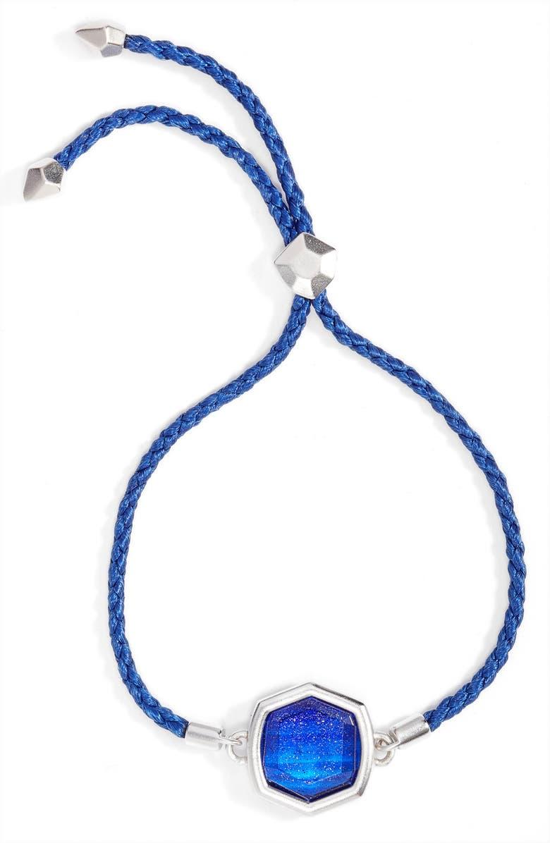 KENDRA SCOTT Davis Friendship Bracelet, Main, color, RHODIUM NAVY DUSTED GLASS