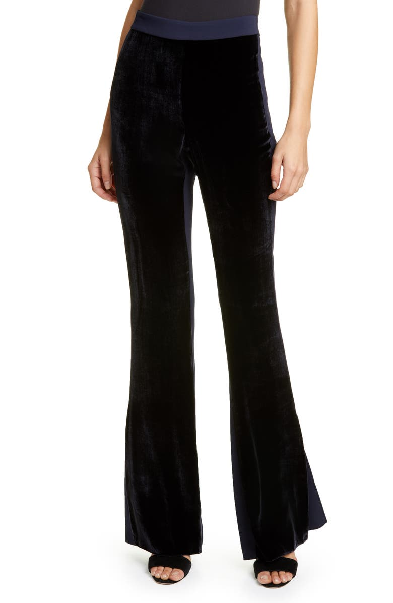 CUSHNIE Velvet Front High Waist Side Slit Flare Pants, Main, color, NAVY