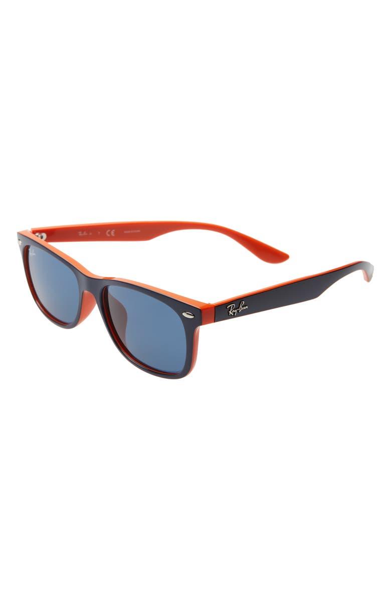 RAY-BAN Junior Wayfarer 50mm Sunglasses, Main, color, TOP BLUE/ ORANGE/ BLUE SOLID