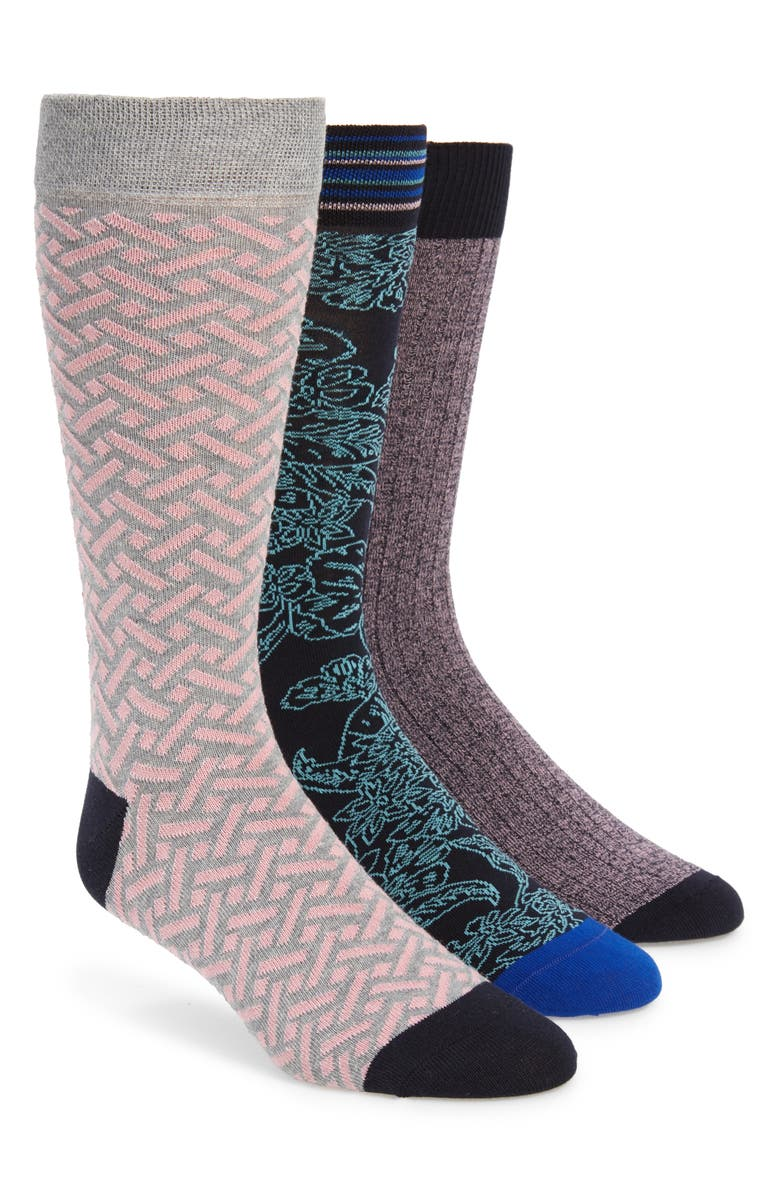 TED BAKER LONDON 3-Pack Assorted Socks, Main, color, NAVY MULTI