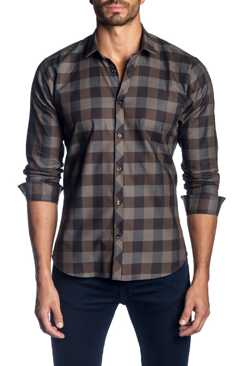 JARED LANG Trim Fit Check Shirt, Main, color, BROWN CHECK