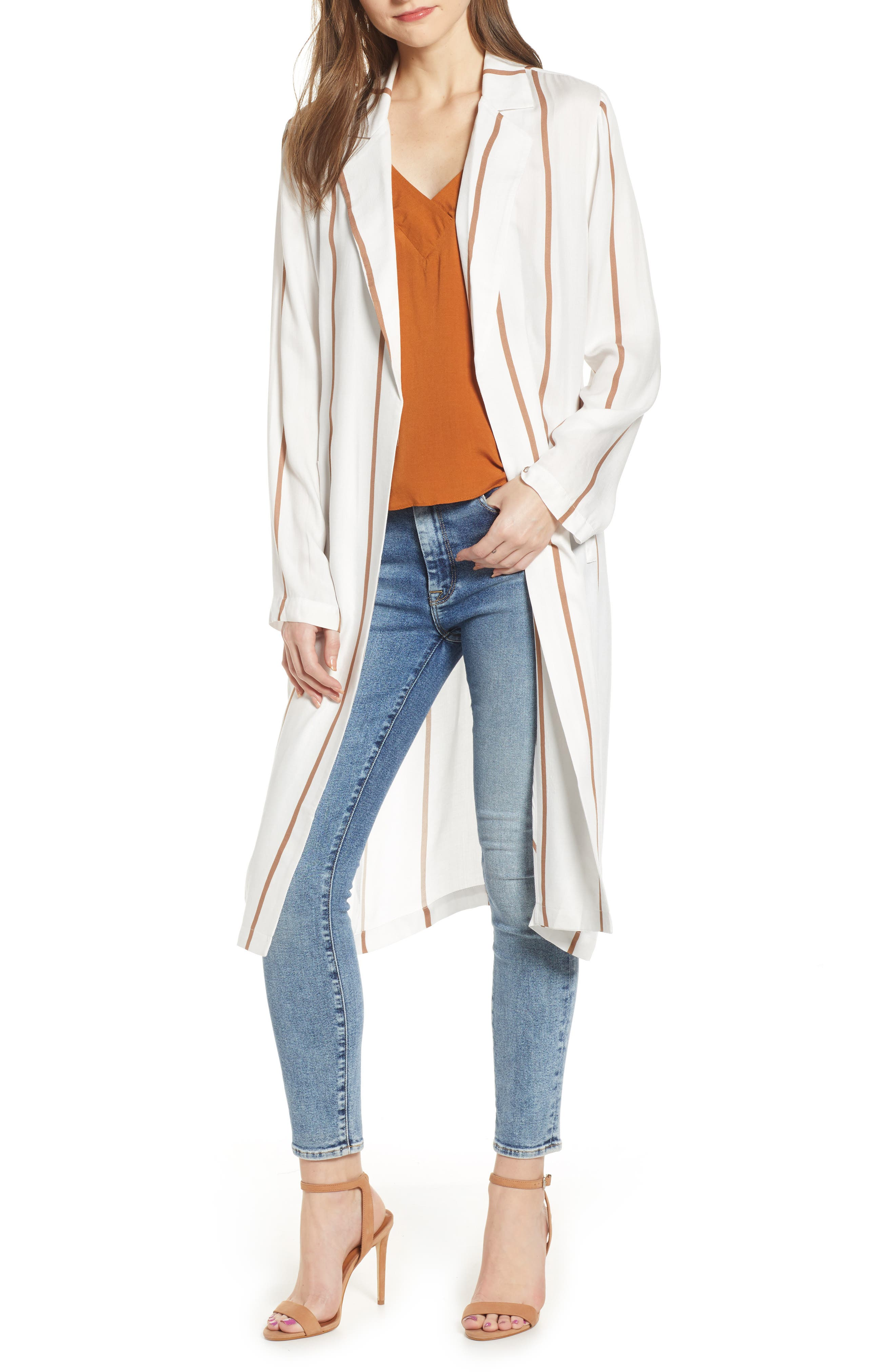 ,                             Stripe Knee Length Blazer,                             Main thumbnail 1, color,                             IVORY-BROWN STRIPE