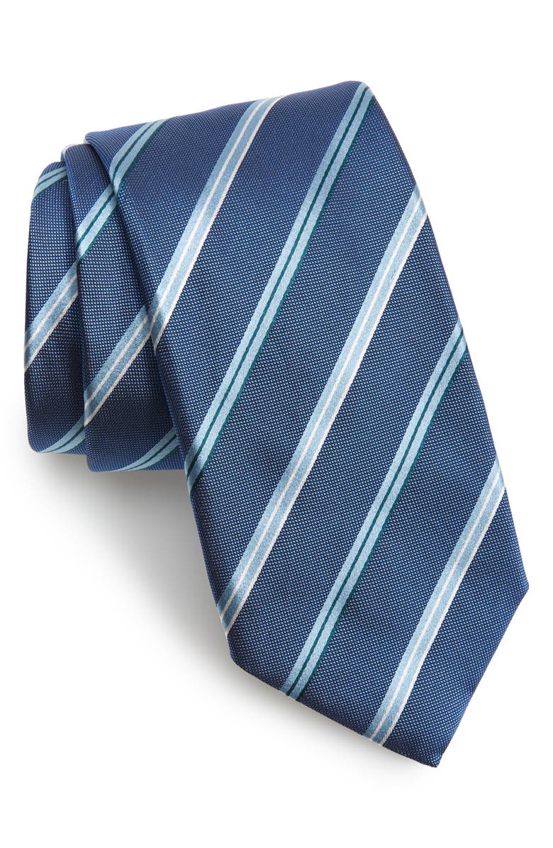 BOSS Stripe Silk Tie, Main, color, BLUE