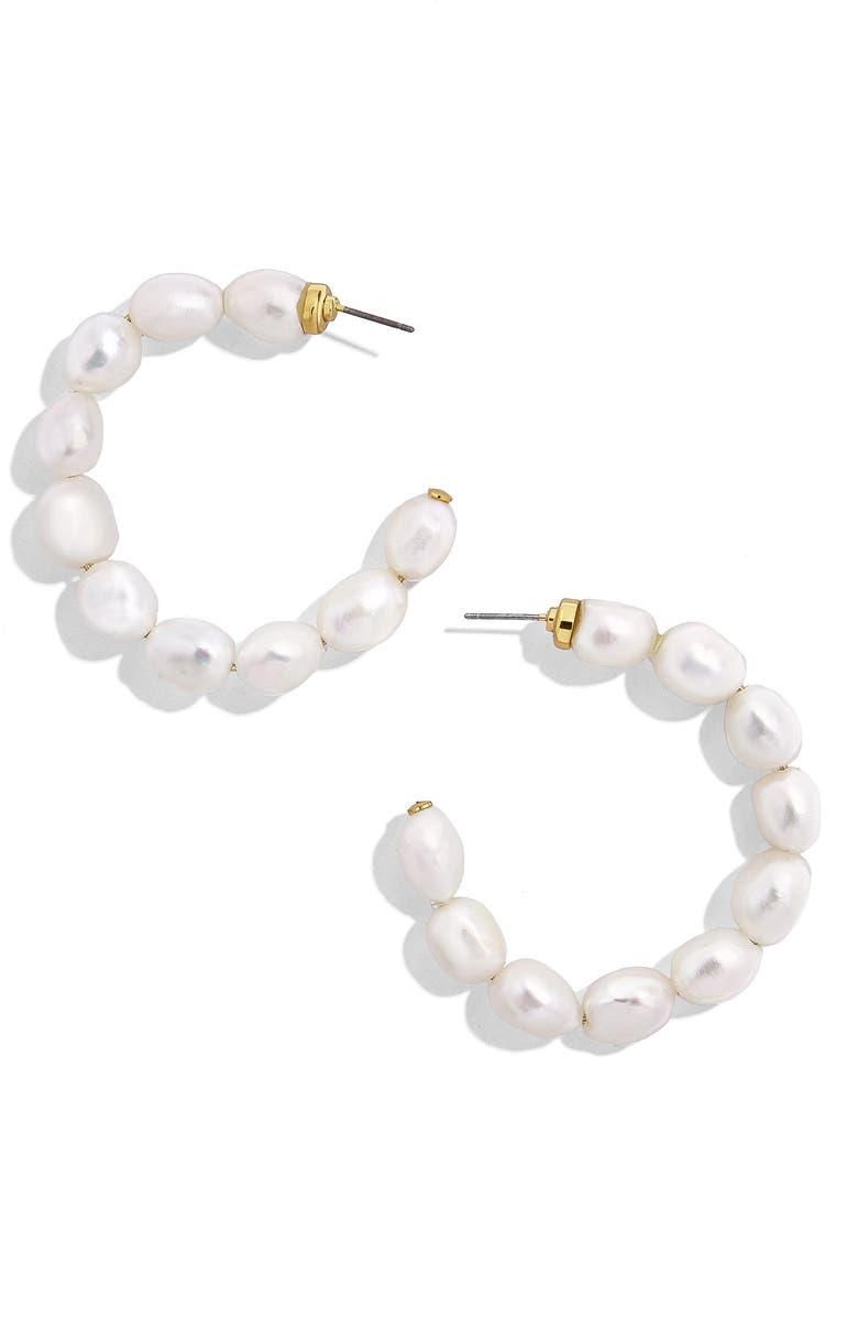 BAUBLEBAR Dafina Hoop Earrings, Main, color, WHITE