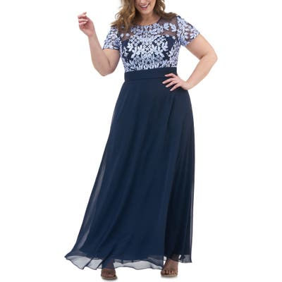Plus Size Js Collections Floral Embroidered Chiffon Gown, Blue