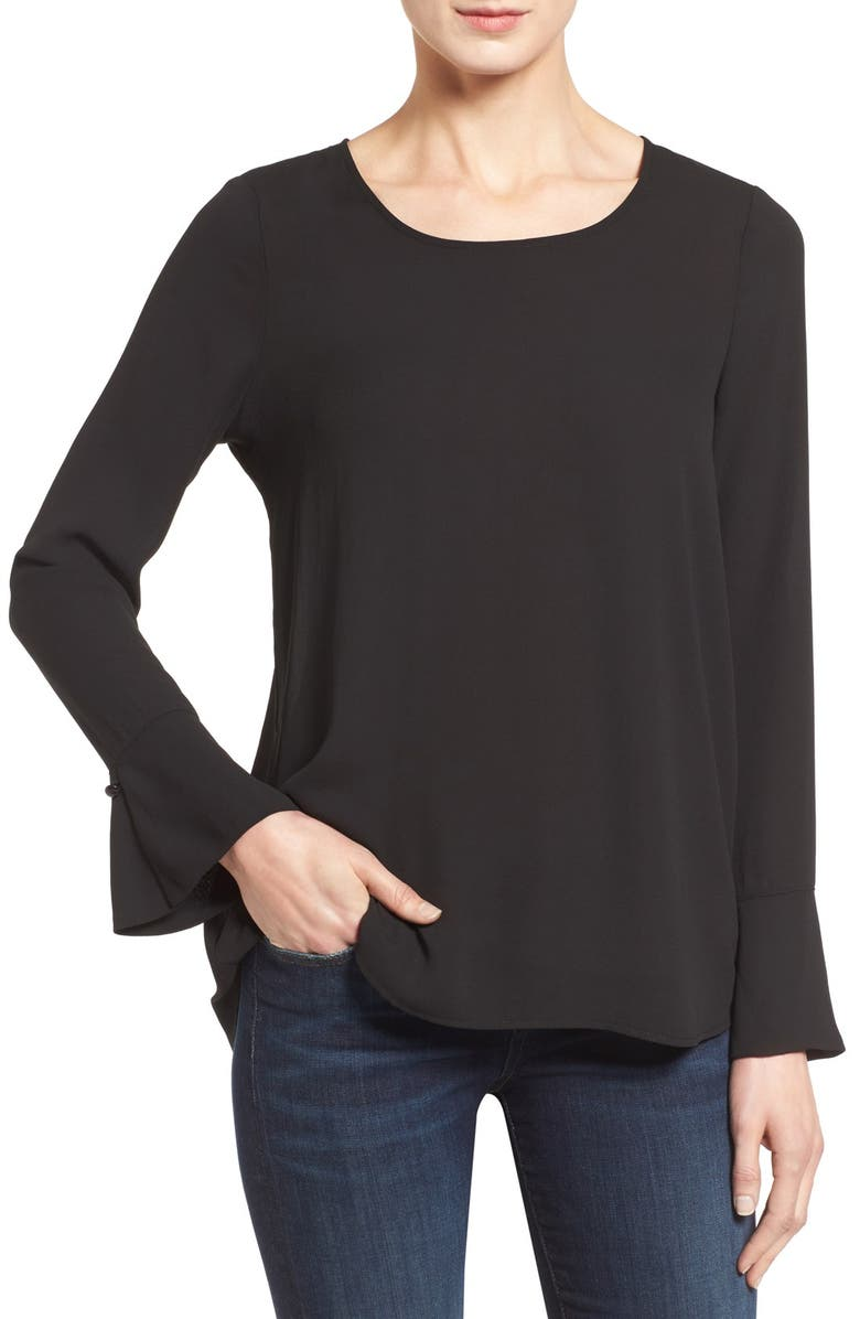 PLEIONE Bell Cuff High/Low Blouse, Main, color, 001