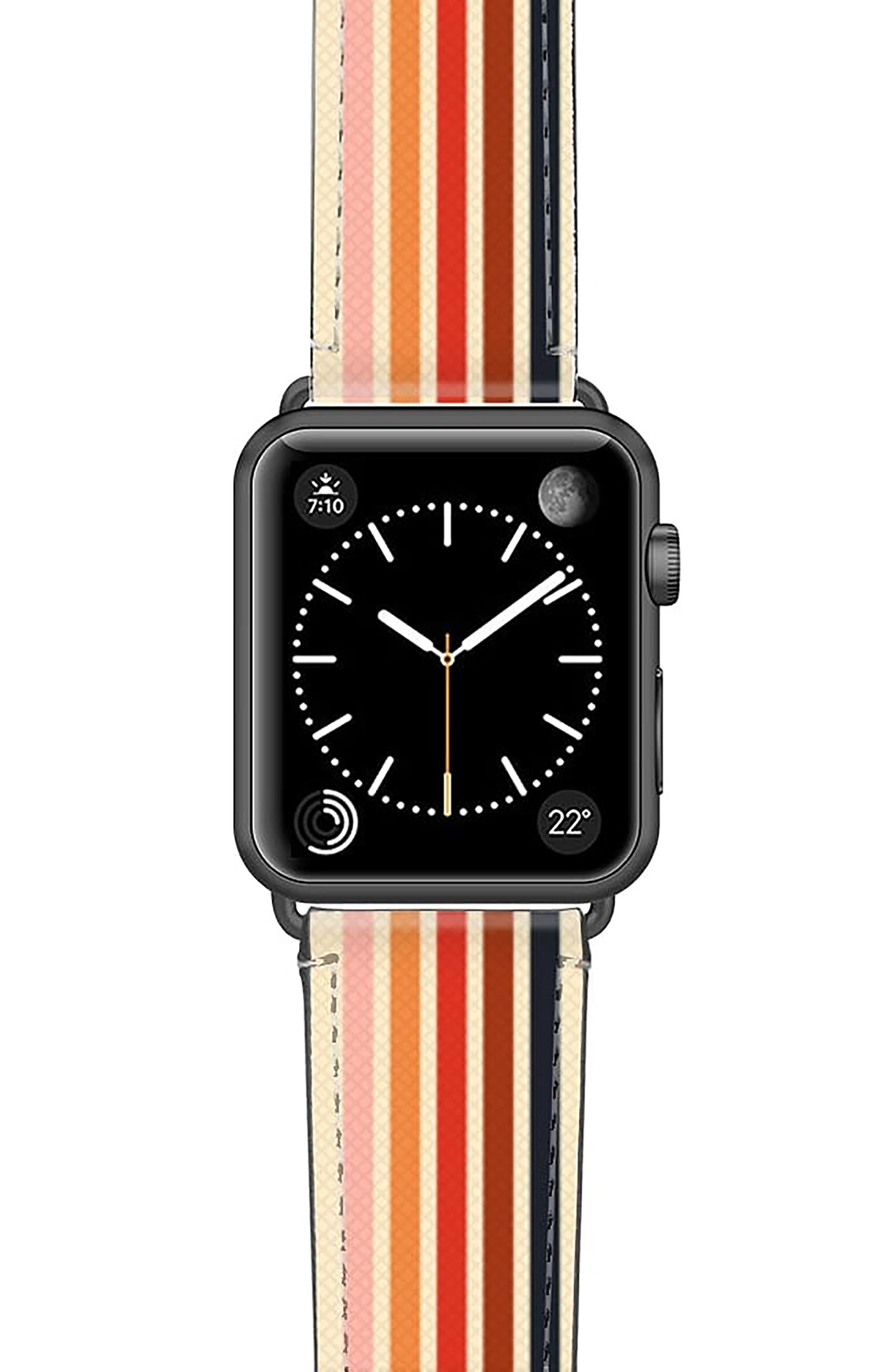 Retro Saffiano Faux Leather Apple Watch Strap
