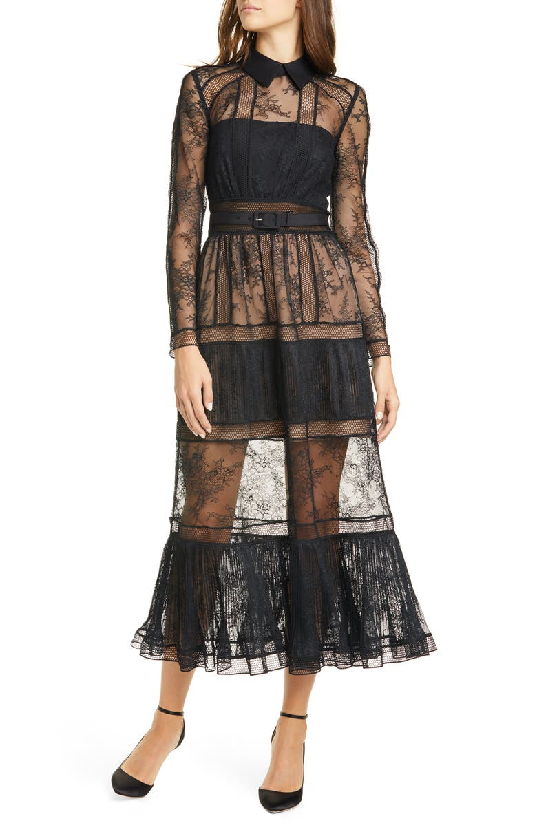 SELF-PORTRAIT Long Sleeve Lace Midi Dress, Main, color, BLACK