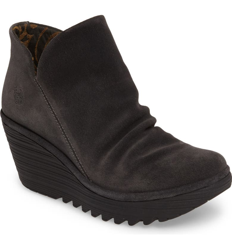FLY LONDON Yip Wedge Bootie, Main, color, BLACK