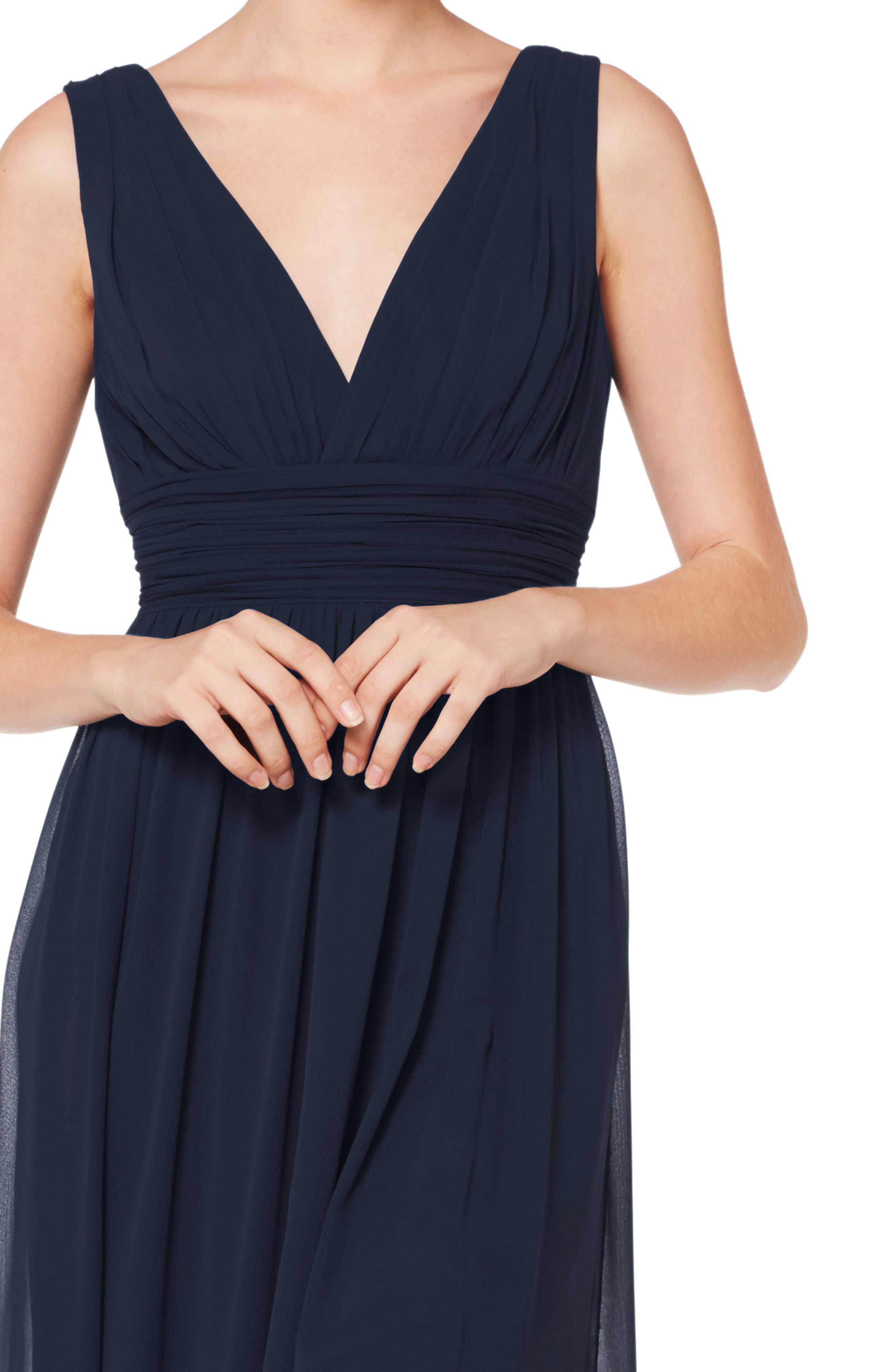 ,                             V-Neck Pleated Chiffon Evening Dress,                             Alternate thumbnail 3, color,                             NAVY
