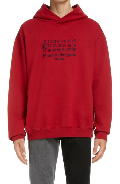 Maison Margiela NUMBERS EMBROIDERED COTTON HOODIE