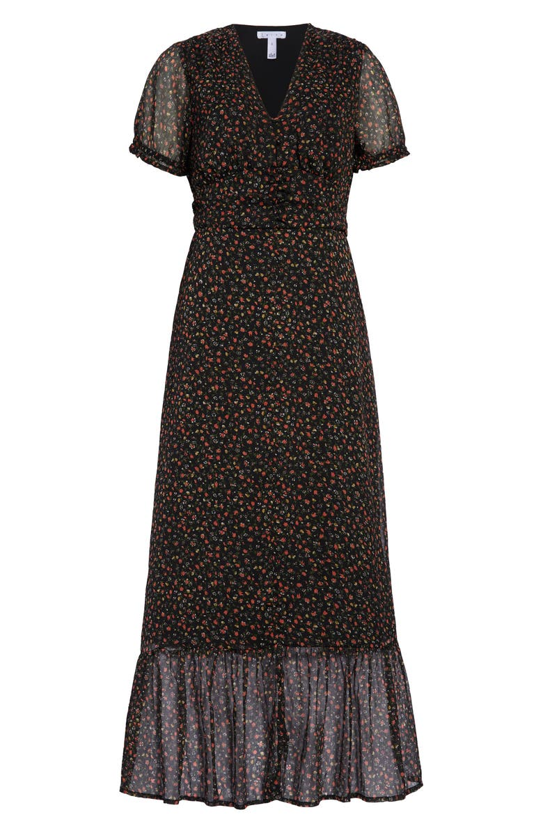 LEITH Floral Print Maxi Dress, Main, color, BLACK DITSY FLORAL