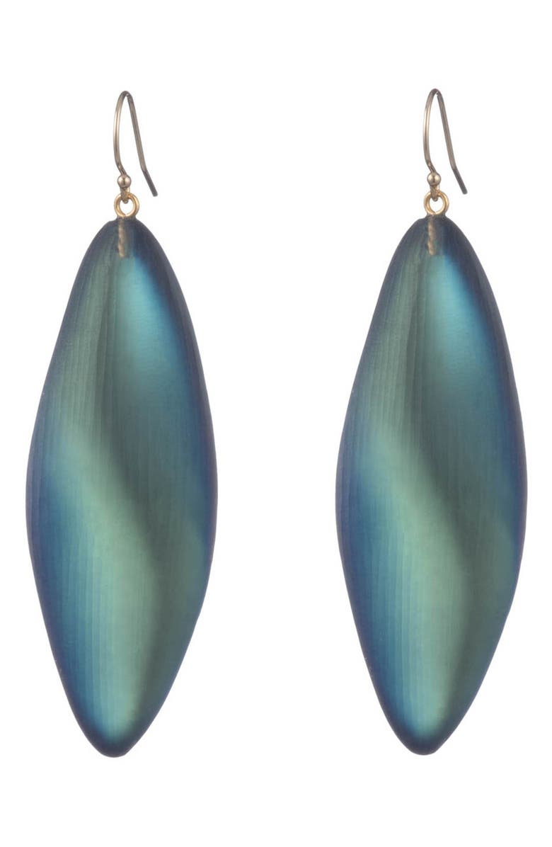 ALEXIS BITTAR Long Leaf Drop Earrings, Main, color, BLACK BEETLE