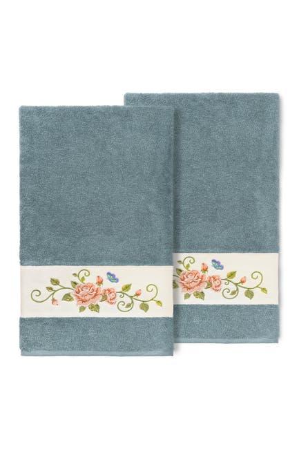 Image of LINUM HOME Teal Rebecca Embellished Bath Towel - Set of 2