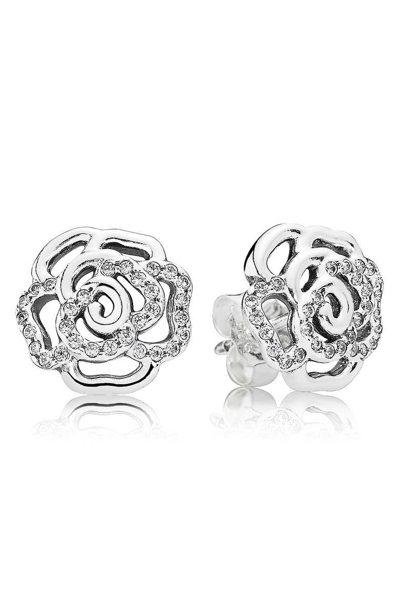PANDORA 'Shimmering Rose' Stud Earrings, Main, color, 042