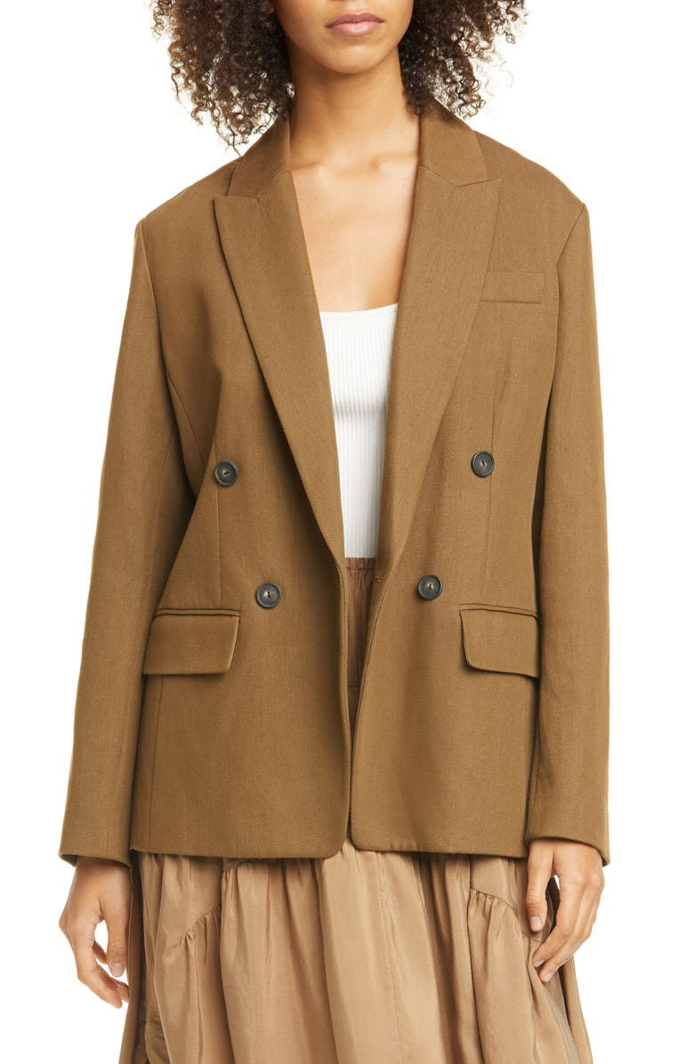 VINCE Double Breasted Cotton & Linen Blend Blazer, Main, color, TIMBER